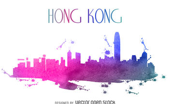 Hong Kong watercolor skyline - vector gratuit #380033