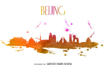 Beijing watercolor skyline - vector #380083 gratis