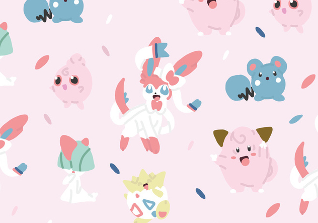 Fairy Type Pokemon Pattern - Free vector #380113