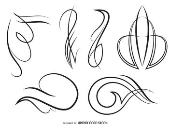 Ornament line art set - бесплатный vector #380153