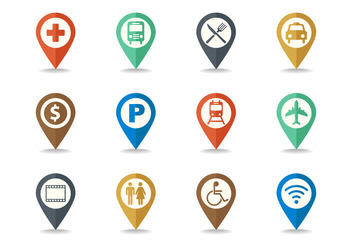 Free Map Legend and Sign Icon Set Vector - Free vector #380303