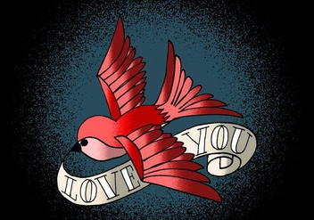 Bird & Banner Tattoo Art - Free vector #380333