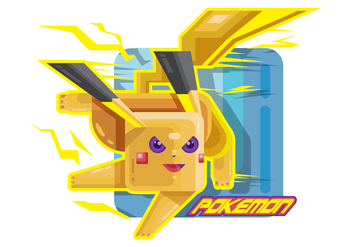 Stylized Fighting Pokemon Vector - Free vector #380343