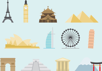 Colorful Monuments Of The World - vector gratuit #380583