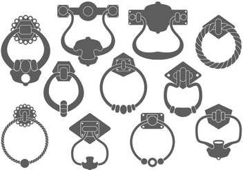 Door Handle Silhouettes Vector Set - Free vector #380703
