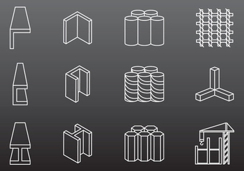 Steel Construction Icons - Free vector #380913