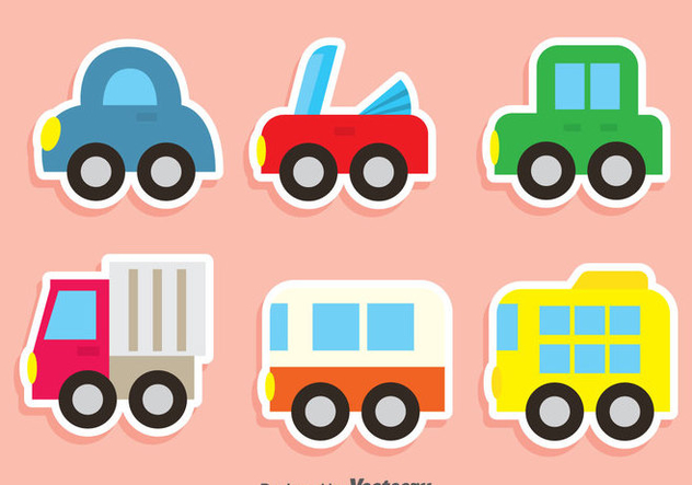 Cute Vehicle Vector Set - бесплатный vector #380923