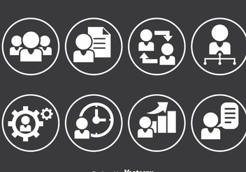 People Working Circle Icons - vector gratuit #380953