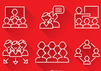 Working Together Outline Icons - vector gratuit #380973