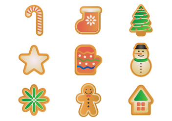 Free Gingerbread Cookies Vector Set - vector gratuit #381433