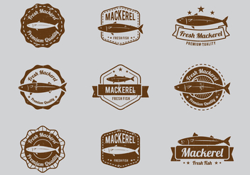 Seafood Mackerel Badge - vector gratuit #381563