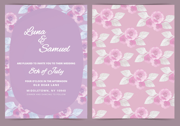 Vector Lilac Flower Wedding Invite - vector gratuit #381663