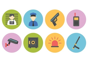 Free Police And Crime Flat Icon Set - vector gratuit #381843