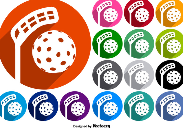 Vector Set Of Buttons With Floorball Icons - Kostenloses vector #381853
