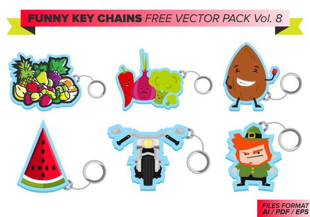 Funny Key Chains Free Vector Pack Vol. 8 - Kostenloses vector #381873