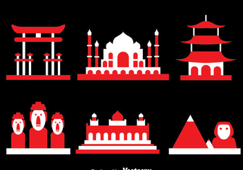 World Landmark Icons Vector - vector #382133 gratis