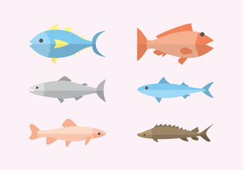 Flat Fish Illustration Vector - vector gratuit #382193