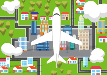 Free Airplane From Above Vector Illustration - бесплатный vector #382543