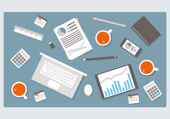 Gray Flat Workspace Vector Illustration - vector gratuit #382773