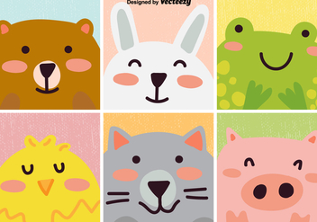 Vector Set Of Cute Cartoon Animal - vector #382823 gratis