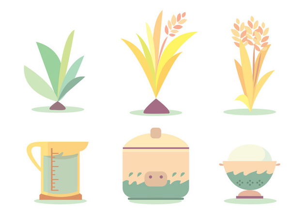 Rice Cook Cycle Vector Set - vector gratuit #382973