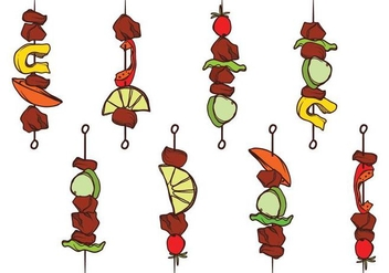 Hand Drawn Brochette Set - vector gratuit #383063