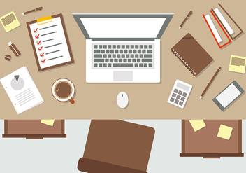 Brown Flat Workspace Vector Illustration - Free vector #383323