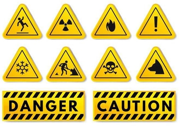 Free Warning and Caution Sign Vector - vector gratuit #383603