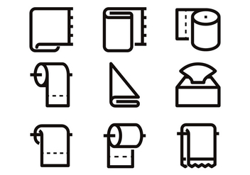 Toilet Paper Line Icon Vectors - бесплатный vector #383653