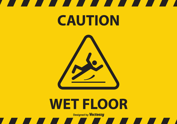 Free Caution Wet Floor Vector Background - Free vector #383693