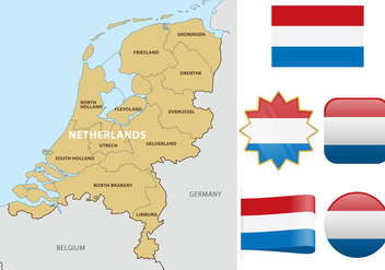 Netherlands Map And Flags - Free vector #383793