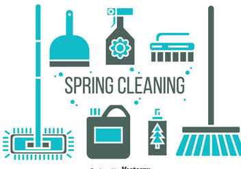 Spring Cleaning Icons Vector - Free vector #383983
