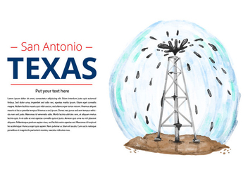 Free Texas Oil Drill Watercolor Vector - Kostenloses vector #384013