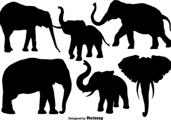 Isolated Silhouettes Of Elephants - Vector - vector gratuit #384173