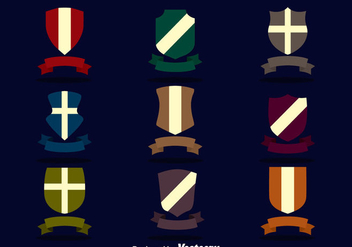 Shield With Ribbon Vector Set - Free vector #384373