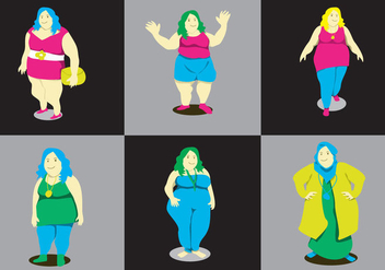 Fat Ladies Vector - vector gratuit #384493