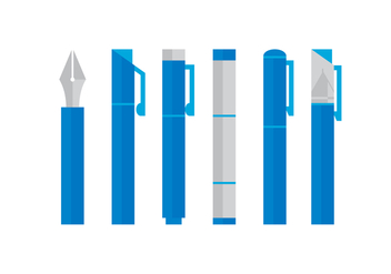 Vector Blue Pen Set - Kostenloses vector #384653