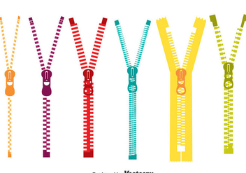 Colorful Zipper Pull Vector Set - Kostenloses vector #384683