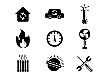 Free Heating and Cooling Icons Vector - vector #384883 gratis