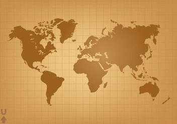 Vintage World Map Vector - бесплатный vector #384923