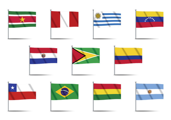 South America Country Flag Vectors - Free vector #385013