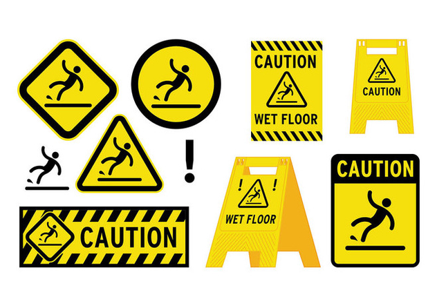 Wet Floor Sign Vector - vector gratuit #385323