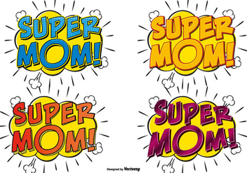 Super Mom Comic Text Illustrations - vector gratuit #385463