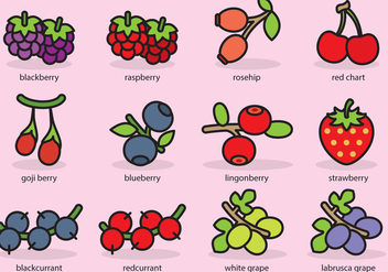 Cute Berries Icons - vector #385593 gratis