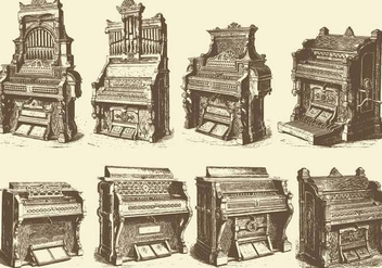 Antique Pipe Organs - vector gratuit #385633