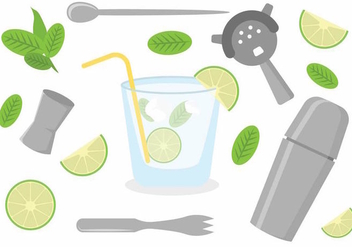 Flat Caipirinha Icon Set - Free vector #385793