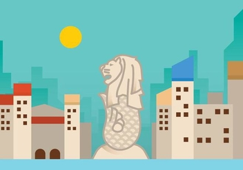 Flat Merlion Vector Background - Kostenloses vector #386003