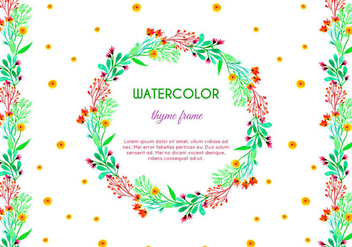 Free Vector Watercolor Thyme Frame and Border - бесплатный vector #386023