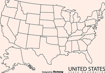 Blank Outline Map Of USA - vector #386093 gratis