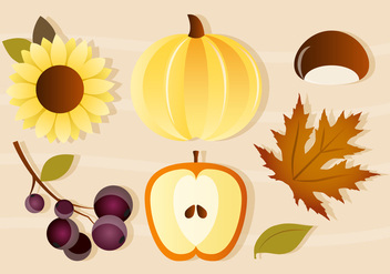 Free Vector Pumpkin and Apple Autumn Elements - Kostenloses vector #386163